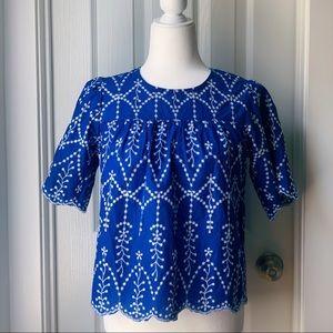 ✨ Blue Scalloped Lace Short Sleeve Blouse